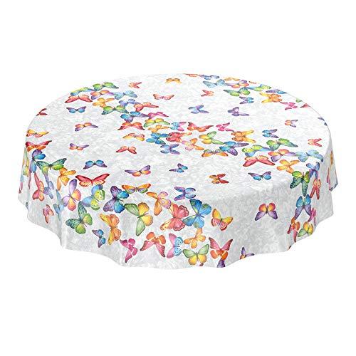ANRO - Mantel de hule lavable, para mesa, 95% PVC, 5% poliéster., Mariposas multicolor., Rund 140cm Schnittkante