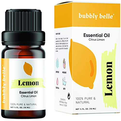 Bubbly Belle Lemon Essential Oil 100% Pure Natural Undiluted Therapeutic Grade for Aromatherapy Diffusers Topical and Massage  10mL 1/3 Ounce