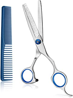 Coolala Stainless Steel Hair Cutting Scissors Thinning Shears 6.5 Inch Professional Salon Barber Haircut Scissors Family Use for Man Woman Adults Kids