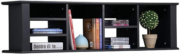 Lunanice Desk Hutch Wall Mount Floating Wood Home Office Storage Furniture Shelf Black