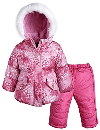 Rothschild Baby Girls Down Alternative Bubble Snowsuit Ski Bib and Jacket Set - Pink Lace (Size 12M)