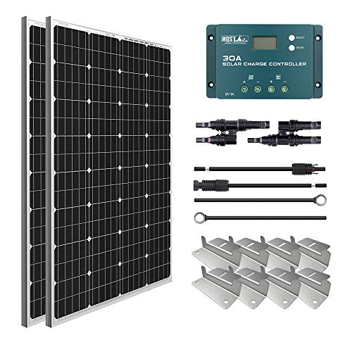HQST 200W 12V Monocrystalline Solar Panel Kit w  30A PWM LCD Solar Charge Controller+Adaptor Kits+Tray Cable+Mounting Z Brackets+Y Branch Connectors