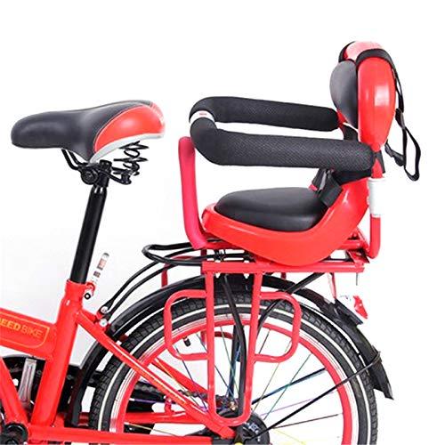 BNVN Asientos de Bicicleta para niños, Respaldo de Asiento de Bicicleta para niños con reposabrazos de Valla extraíble y Almohada para niños de Pedal para Asiento de bebé de 2 a 6 años