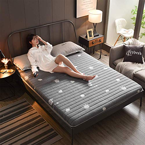 GJJSZ Latex Sleeping Floor Mat,thick Breathable Mattress Topper Pad,quilted Folding Traditional Japanese Futon Cushion Bed Topper Pillow Top Mattress For Home Dormitory-grey King