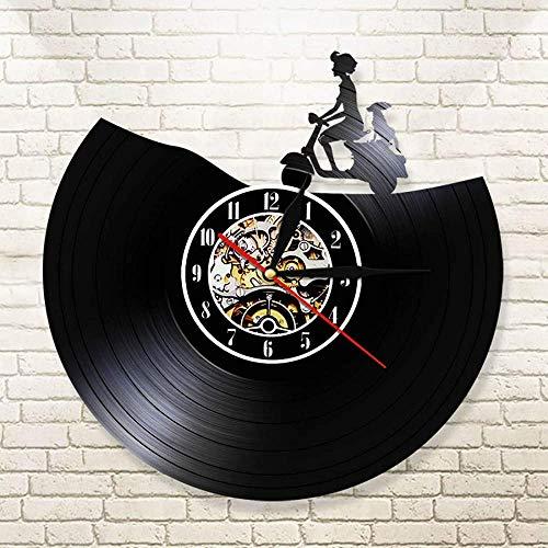 CCGGG Vintage Scooter Disco de Vinilo Luz Motocicleta Vinilo Grabado Reloj de Pared Motocicleta Retroiluminación LED Conductor Moderno