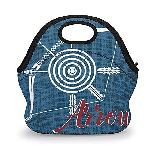 Illustrazione, design grafico a forma di freccia, borsoni riutilizzabili, borsa termica per il pranzo, borsa termica per bambini, ragazzi, donne, scuola, lavoro
