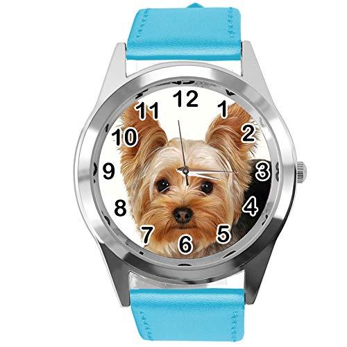 Reloj analógico de Cuarzo con Correa de Piel auténtica Azul Redondo para los Fans de York Terrier de TAPORT®
