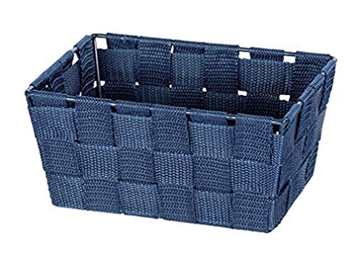 WENKO Cesta Adria mini, long azul oscuro - Cesta de baño, rectangular, tejido de plástico, Polipropileno, 19 x 9 x 14 cm, Azul oscuro