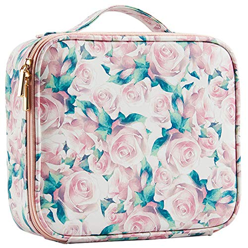 Stagiant Makeup Bag Portable Travel Makeup Train Case for Women PU Leather Cosmetic Storage Organizer Large Capacity with Adjustable Dividers for Toiletry Jewelry Digital Accessories Pink Rose Print