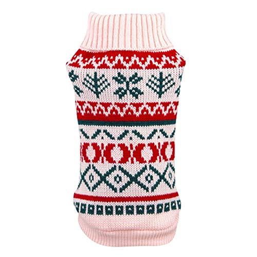 SLE Hundepullover für den Herbst Winter warm Stricken häkeln Kleidung für Hund Chihuahua Dackel Klassische Hundebekleidung für kleine Hunde XXL Pink
