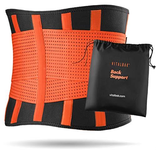 Vitalbak Faja Lumbar Hombre y Mujer - Alivia el Dolor y Las Lesiones en Cintura y Espalda - Cinturón Lumbar con Doble Ajuste - Gratis Bolsa de Transporte (S - 48 a 62 cm, Naranja)