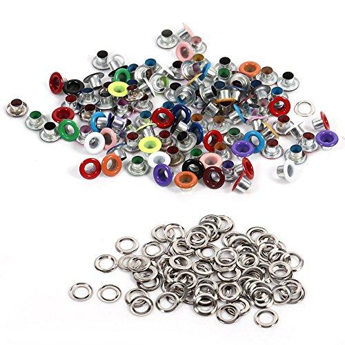 Metall Ösen 4 mm Runde 100 Stück Eyelets Nieten Scrapbooking Ösen Unterlegscheiben Leder Craft Bekleidung Taschen(Verschiedene Farben)
