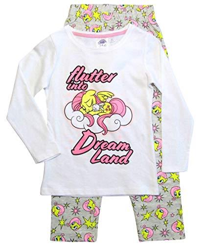 Pony My Little Schlafanzug Mädchen Lang Rundhalsausschnitt (Weiß-Grau, 98)