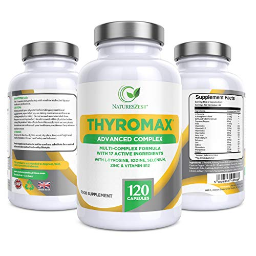 ThyroMax Advanced Supplement, 120 Vegan Capsules, with Iodine, L-Tyrosine, Ashwagandha, B12 and Zinc, UK Made, 2 Month Supply by Natures Zest