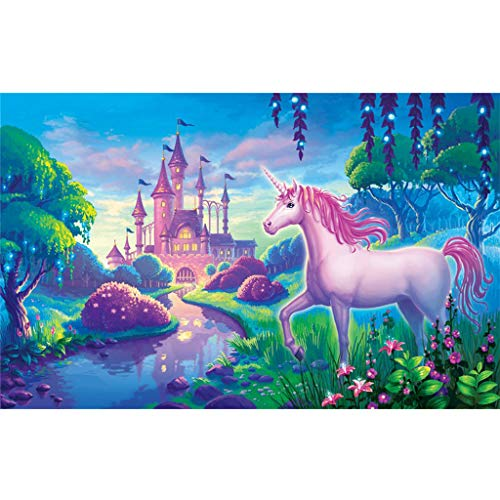 Kit de pintura de diamantes 5D cuadrados, kit de pintura de diamantes 5D, kit de pintura de diamantes de imitación de unicornio y castillo para manualidades, decoración de pared, 40 x 30 cm