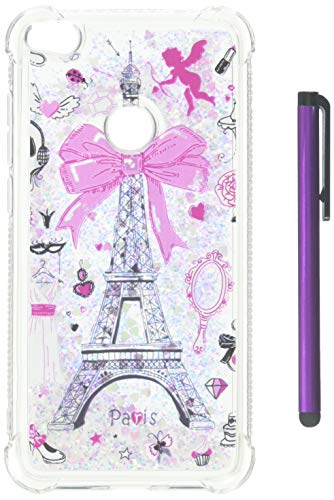 HMTECHUS Huawei P8 Lite 2017 case Unique Creative 3D Pattern Quicksand Diamonds Floating Shiny Glitter Flowing Liquid Shockproof Protect Silicone Cover for Huawei P8 Lite 2017 Bling Eiffel Tower YB