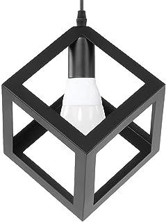 Lámpara de techo industrial Lámpara de linterna colgante de jaula de metal moderna con cables de 85 cm de longitud, lámpara de techo E27 Lámpara colgante de jaula de hierro para pasillo de barra