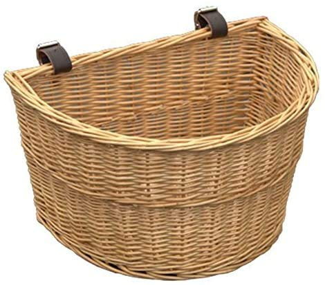 Handmade Front Wicker Bicycle Basket with Leather Straps