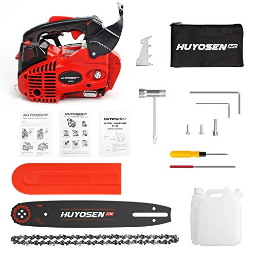 HUYOSEN PRO Professional Gas Chainsaws 25cc 2-Stroke Gas Powered Chain Saw 12-Inch Chainsaw Chain with Tool Kit for Cutting Forest Wood Garden Trimming Tools