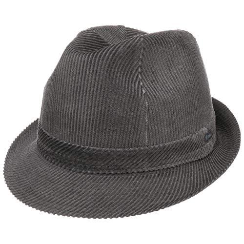 Lipodo Molinar Cordhut grau Herren - Herrenhut aus Baumwolle - Hut Größe 60 cm - Trilby aus Cord - Stoffhut mit Ripsband und Innenfutter - Kordhut Sommer/Winter
