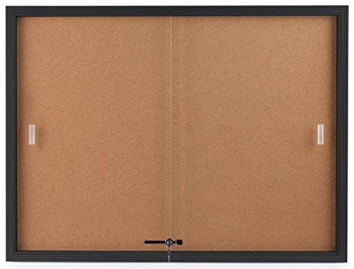 Displays2go Enclosed Cork Board, Sliding Glass Door, 4 x 3 Foot, Locking Bulletin Board for Wall (CBSD43BK)