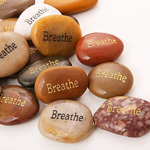ROCKIMPACT 50PCS Breathe Breathe Stone Engraved Inspirational Stones Bulk Encouragement Motivational Gifts Zen Healing Inspiring Rocks Prayer Word Stones Wholesale Breathe Rock,2-3 Each