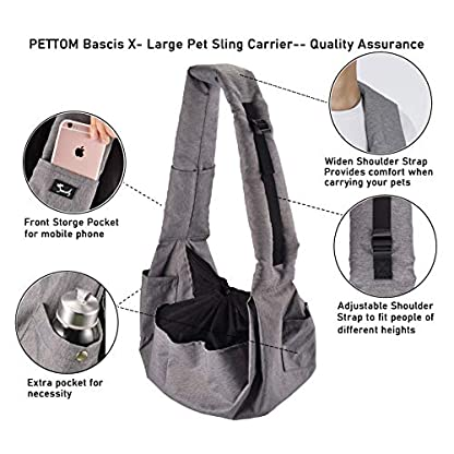 Dog Sling Carrier Small Puppy Cat Pet Carrier Waterproof Outdoor Pet Travel Bag Tote Hands Free, with Adjustable Padded Shoulder Strap, Multiple Pockets, Escape-proof Drawstring Mesh & Collar Hook 5