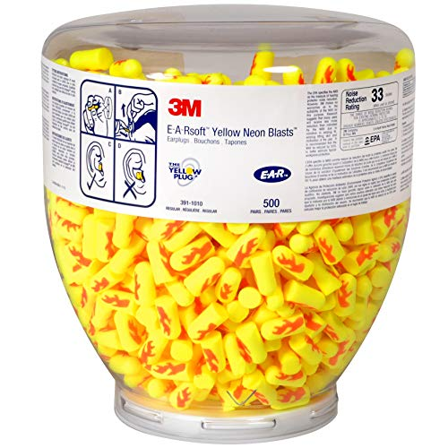 3M Ear Plugs, 500 Pair/Refill Bottle for One Touch Dispenser, E-A-Rsoft Yellow Neon Blasts 391-1010, Uncorded, Disposable, NRR 33, Drilling, Grinding, Machining, Sawing, Sanding, Welding
