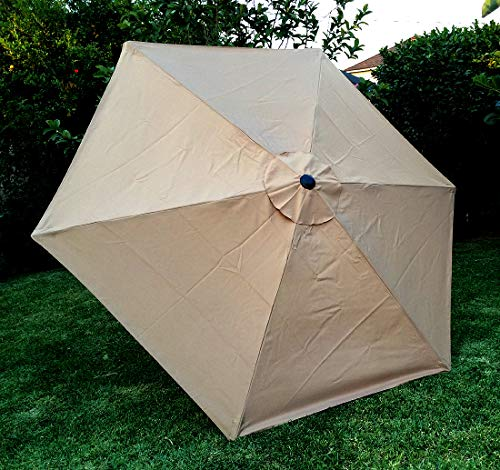 """BELLRINO DECOR 7.5 ft 6 Ribs Replacement"""" STRONG & THICK"""" Patio Umbrella Canopy Cover (Canopy Only) (LIGHT COFFEE 75)"""