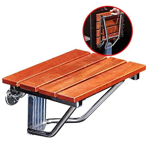 Klappbare Duschhocker und Stuhl Wandmontage Klappbarer Duschsitz aus Holz Wechselschuhe Hocker Edelstahlhalterung für ältere Menschen Rutschfester Duschsitz Hocker Max 160 kg Holz