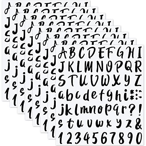 504 Pezzi 8 Fogli Set di Adesivi Numeri Lettere in Vinile Autoadesivo, Adesivi Numeri di Cassetta Postale Numeri Alfabeto Decalcomanie per Cassetta Postale, Segno, Porta, 1 Pollice