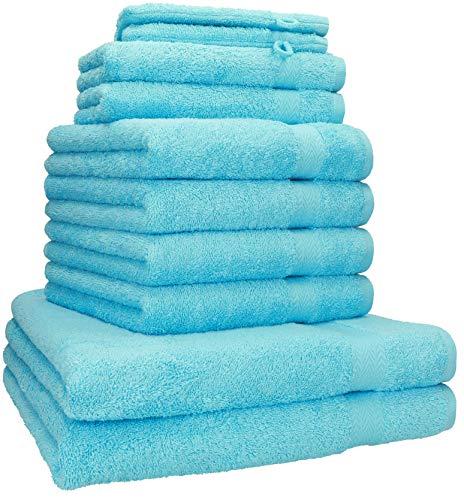 Betz Juego de 10 Piezas de Toallas Premium 100% algodón 2 Toallas de baño 4 Toallas de Mano 2 Toallas Invitados 2 Manoplas de baño Color Turquesa