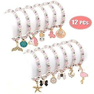 Tacobear 12 Stück Freundschaftsarmband Armbänder Kinder Perlenarmband mit Anhänger Tiere Einhorn Armband Kristall Charm Armband für Mädchen Mitgebsel Kindergeburtstag Gastgeschenke (Einschichtig)