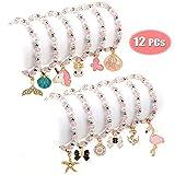 Bascolor 12 Stück Freundschaftsarmband Armbänder Kinder Perlenarmband mit Anhänger Tiere Einhorn Armband Kristall Charm Armband für Mädchen Mitgebsel Kindergeburtstag Gastgeschenke (Einschichtig)