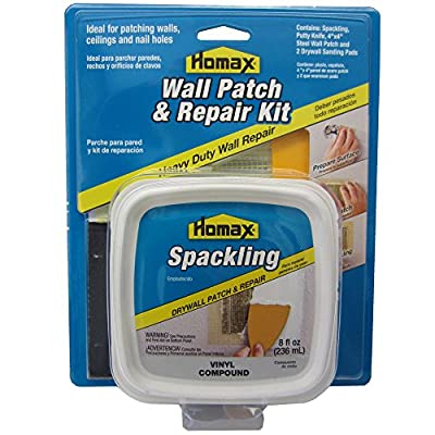 "Drywall Patch and Repair Kit, Wall Patch Kit with 8 fl. oz. Spackling, 3"" Putty Knife, 2 Sanding Pads and 4""x4"" Wall Patch"