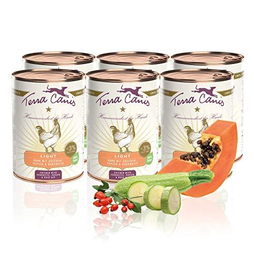 Terra Canis Light Nassfutter I Reichhaltiges Premium Hundefutter in echter Lebensmittelqualität mit Huhn, Zucchini & Papaya I 6 x 400 g, Kalorien- & fettreduziert, Getreide- & glutenfrei
