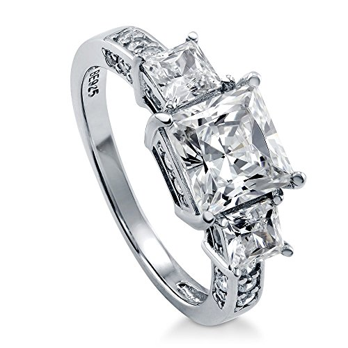 BERRICLE Rhodium Plated Sterling Silver Princess Cut Cubic Zirconia CZ 3-Stone Anniversary Engagement Ring 3.13 CTW Size 5