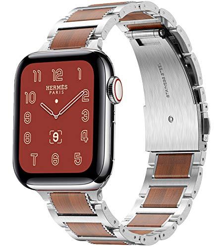 Metallo Cinturino Apple Watch, Compatible per Apple Watch Cinturini 42mm 44mm, Legno di Sandalo Rosso Cinghia Metallo in Acciaio Inossidabile, Cinturini per Apple Watch SE/iWatch Serie 6 5 4 3 2 1