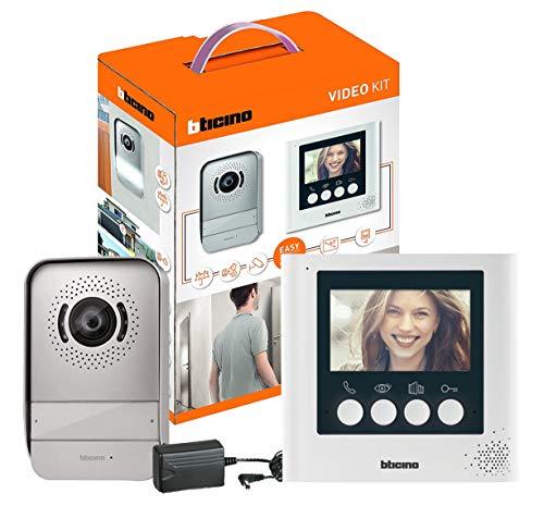 Kit videoportero BTicino 316913, Compuesto de un Monitor de vídeo Interior con Pantalla a Color de 4,3 Pulgadas e interfono Exterior de...