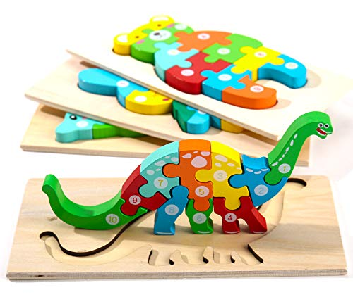 Montessori Mama Wooden Toddler Puzzles for Kids Ages 2-4 | Montessori Toys for Toddlers 2 Years Old | Wooden Puzzles for Toddlers 2-4 Years | 4-Pack Toddler Puzzle Toddler Toys