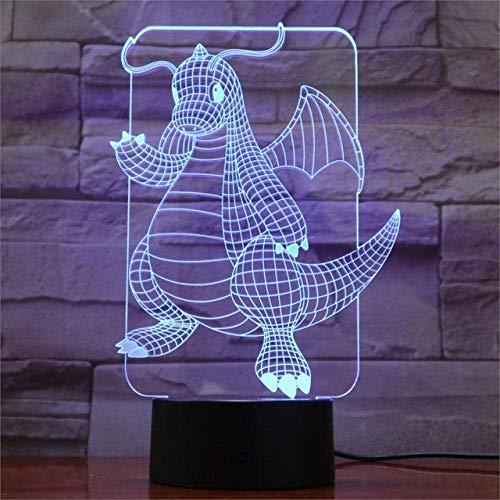 Luz de nochepequeña 3DLed3D 7-coloresLuz de nochepequeña Ledpara niñosLámpara de escritorioUSBtáctil Luz de noche paradormir para bebés