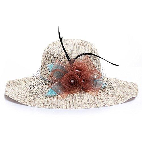 chytaii sombrero de sol Capeline en paja sombrero de transición Large Mujer anti-soleil UV sombrero de playa viaje protección solar en verano con decoración flores marrón marrón 56-58cm