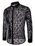 INVACHI Men's Sexy Fishnet Button Down Shirts See Through Lace Sheer Shirts Black Large