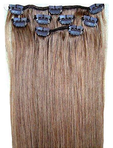 Forever Young Extensions de cheveux humains à clipser - Demi-tête - 40 g - Longueur : 45,7 cm - Brun cendré #8