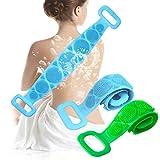vegcoo silicone spazzola bagno, 2 pezzi silicone spazzola corpo spazzole doccia indietro spazzola bagno, double-sided doccia massaggio esfoliante, adatto per uomo e donna (blu + verde)