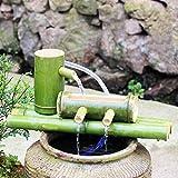ZCED Kit De Fuente De Bambú Fuente De Agua Baja De Bambú Solar con Bomba Cascada De Decoración Japonesa Zen Cascada De Bambú Interior/Exterior,Length40cm