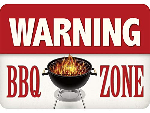 Blikken waren fabriek Braunschweig culthanger metalen bord - Warning BBQ Zone Grill Barbecue KH132