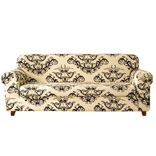 TIKAMI 2-Piece Sofa Slipcovers Printed Floral Stretch Couch Covers Washable Anti-Slip Furniture Protector for Living Room(Sofa, Coffee)