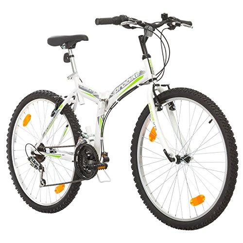 Multibrand, PROBIKE Folding MTB 26, 26 Pollici, 457mm, Mountain Bike Pieghevole, 18 velocità, Full Suspension, Unisex, Grigio Verde, 26 inch (Bianco/Verde-Grigio, 26x18)
