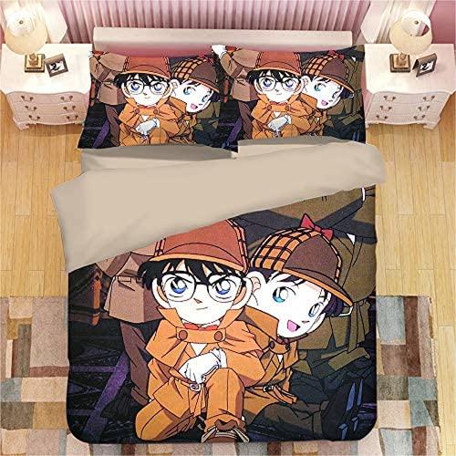 QWAS Detective Conan - Copripiumino e federa, motivo animazione 3D, idea regalo per gli appassionati di anime (A03,135 x 200 cm + 50 x 75 cm x 2)